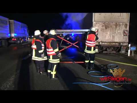 LKW Brand auf der Autobahn A45 bei Siegen
