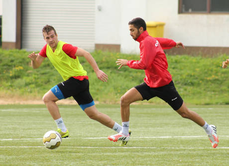 Marco Komenda (links) im Training mit Haluk Arslan. (Foto: Sportfreunde Siegen)