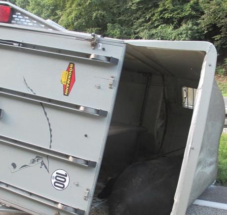 Pferdeanhänger bei Unfall auf der A45 umgestürzt - Vollsperrung! (Foto: Polizei)