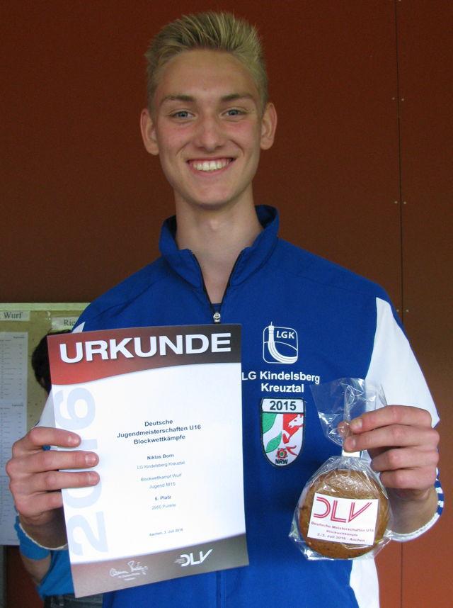LGK-Leichtathlet Niklas Born erfolgreich in Aaachen. (Foto: LGK)