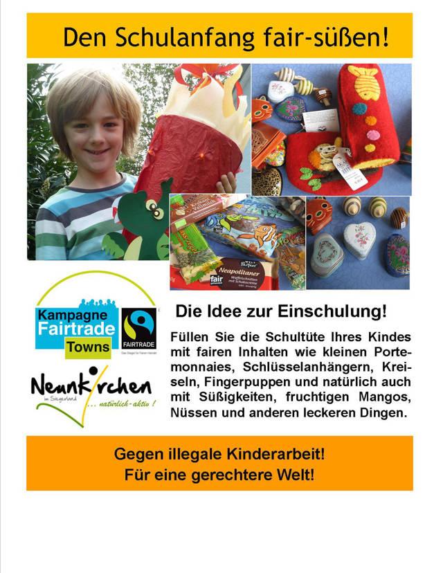 """""""Faire"""" Schultüte: Zur Einschulung ein Zeichen setzen. (Flyer: Gemeinde)"""